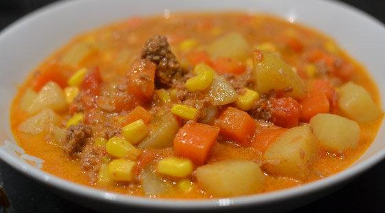 suppe med hakket oksekød opskrift